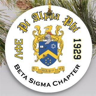 Pi Alpha Phi Round Christmas Shield Ornament