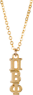 Pi Beta Phi 22 k Yellow Gold Plated Lavaliere Necklace - ON SALE!