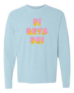 Pi Beta Phi 3Delightful Long Sleeve T-Shirt - Comfort Colors