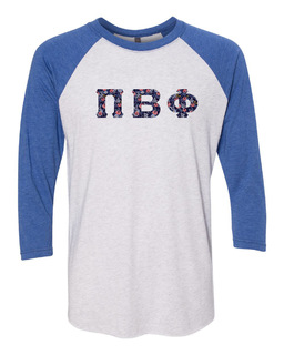 Pi Beta Phi Unisex Tri-Blend Three-Quarter Sleeve Baseball Raglan Tee