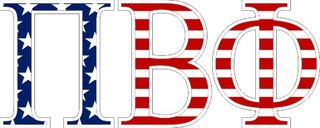 "Pi Beta Phi American Flag Greek Letter Sticker - 2.5"" Tall"