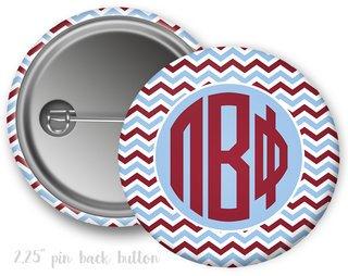 Pi Beta Phi Chevron Monogram Button