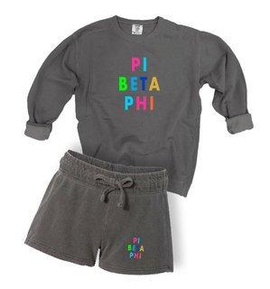 Pi Beta Phi Comfort Colors Crew and Short Set