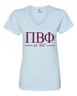 Pi Beta Phi Comfort Colors Custom V-Neck T-Shirt