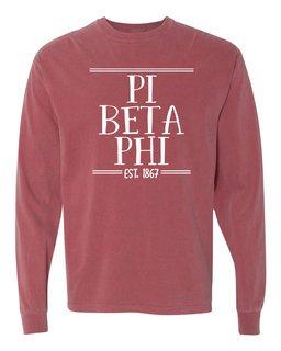 Pi Beta Phi Comfort Colors Custom Long Sleeve T-Shirt