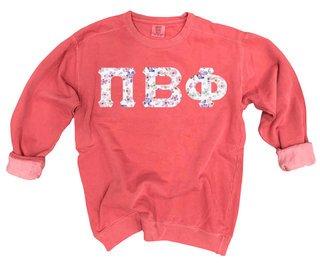Pi Beta Phi Comfort Colors Lettered Crewneck Sweatshirt