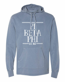Pi Beta Phi Comfort Colors Terry Scuba Neck Custom Hooded Pullover