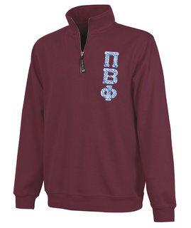 Pi Beta Phi Crosswind Quarter Zip Twill Lettered Sweatshirt