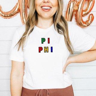 Pi Beta Phi Custom Colors Embroidered Nickname Tee