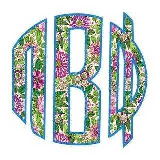 "Pi Beta Phi Floral Greek Monogram Sticker - 3"" Tall"