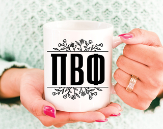 Pi Beta Phi Floral Letters Mug