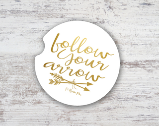 Pi Beta Phi Folow Your Arrow Sandstone Car Cup Holder Coaster