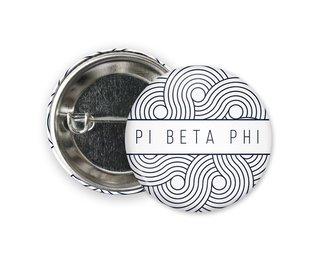 Pi Beta Phi Geo Scroll Button Pin