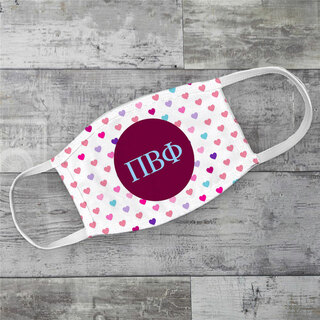 Pi Beta Phi Hearts Face Mask