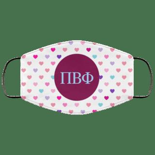 Pi Beta Phi Hearts Face Mask