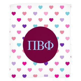 Pi Beta Phi Hearts Fleece Blanket