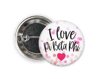 Pi Beta Phi I Love Heart Bursting Button