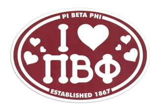 Pi Beta Phi I Love Sorority Sticker - Oval