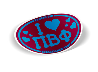 Pi Beta Phi I Love Sorority Sticker - Oval
