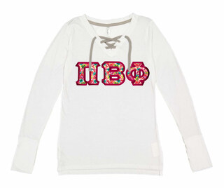 Pi Beta Phi LAT - Sorority Fine Jersey Lace-Up Long Sleeve T-Shirt