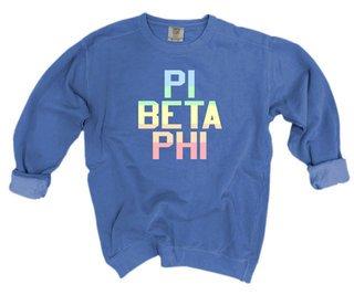 Pi Beta Phi Pastel Rainbow Crew - Comfort Colors