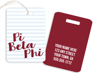Pi Beta Phi Personalized Striped Luggage Tag