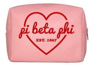 Pi Beta Phi Pink with Red Heart Makeup Bag