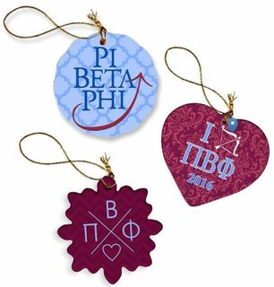 Pi Beta Phi Porcelain Ornament Trio Set
