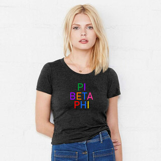 Pi Beta Phi Rainbow Triblend Short Sleeve Tee
