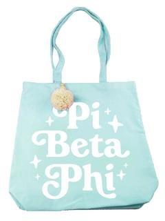Pi Beta Phi Retro Pom Pom Tote Bag