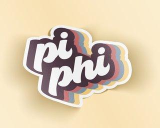Pi Beta Phi Retro Sticker