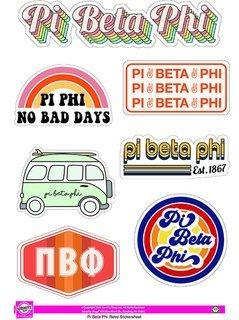 Pi Beta Phi Retro Sticker Sheet