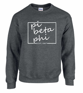 Pi Beta Phi Script Box Crewneck Sweatshirt