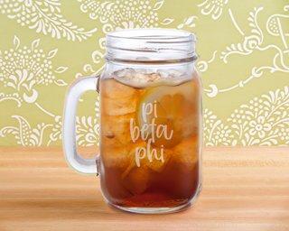 Pi Beta Phi Script Mason Jar Mug