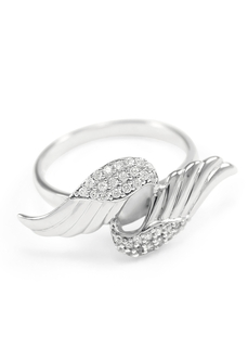 Pi Beta Phi Sterling Silver Angel Wings Ring set with Lab-created Diamonds