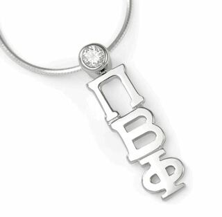 Pi Beta Phi Sterling Silver Lavaliere Pendant with Swarovski Clear Crystal