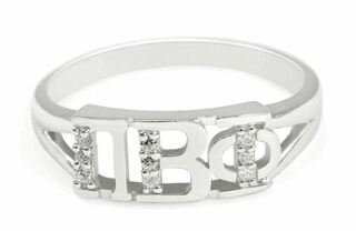 Pi Beta Phi Sterling Silver Ring set with Lab-Created Diamonds
