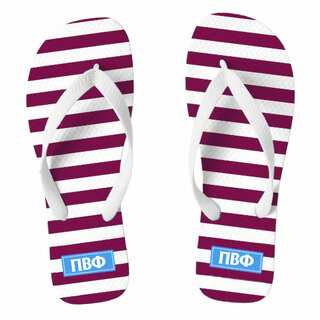 Pi Beta Phi Striped Flip Flops