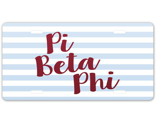 Pi Beta Phi Striped License Plate