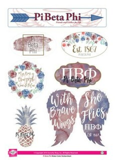 Pi Beta Phi Water Color Stickers