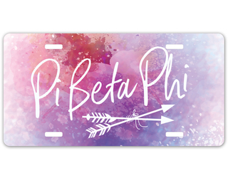 Pi Beta Phi Watercolor Script License Plate