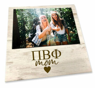 """Pi Beta Phi White 7"""" x 7"""" Faux Wood Picture Frame"""