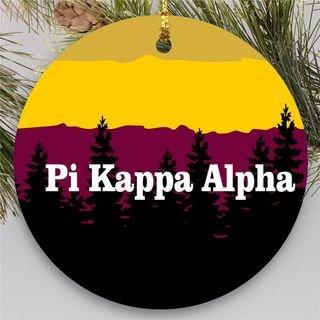 Pi Kappa Alpha Christmas Mountains Round Ornaments