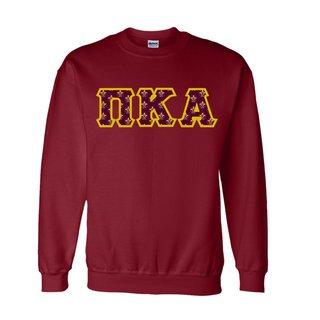 Pi Kappa Alpha Fraternity Crest - Shield Twill Letter Crewneck Sweatshirt