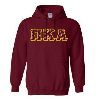 Pi Kappa Alpha Fraternity Crest - Shield Twill Letter Hooded Sweatshirt