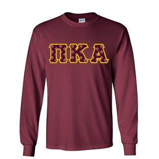 Pi Kappa Alpha Fraternity Crest - Shield Twill Letter Longsleeve Tee