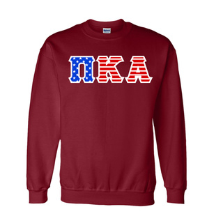 DISCOUNT-Pi Kappa Alpha Greek Letter American Flag Crewneck