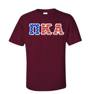 DISCOUNT-Pi Kappa Alpha Greek Letter American Flag Tee