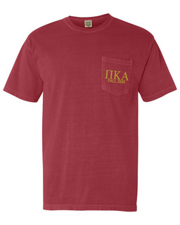 Pi Kappa Alpha Greek Letter Comfort Colors Pocket Tee