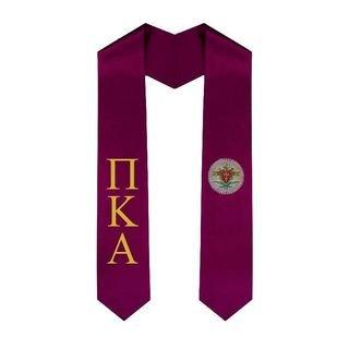 Pi Kappa Alpha Greek Lettered Graduation Sash Stole With Crest